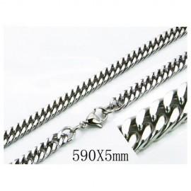 Cadena plana hombre acero quirúrgico inoxidable, calidad, 59cm largo y 5mm ancho.