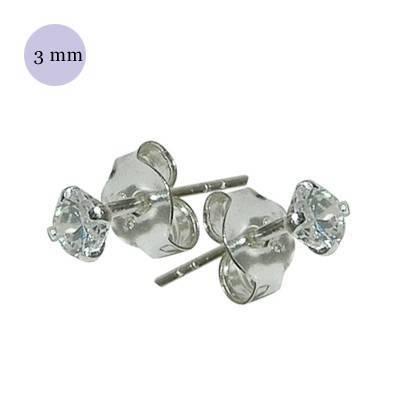Un pendiente de plata con circonita redonda 3mm. Precio por unidad. OR71-1
