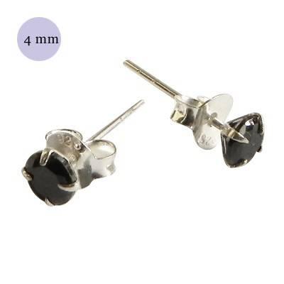 boucle d'oreille argent zirconium homme, rond 4mm. Vendu à l'unité. OR72-2