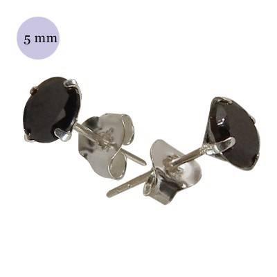 boucle d'oreille argent zirconium homme, rond 5mm. Vendu à l'unité. OR73-2