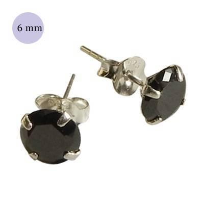 boucle d'oreille argent zirconium homme, rond 6mm. Vendu à l'unité. OR74-2