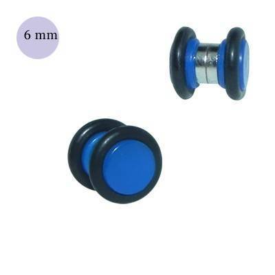 Una dilatación falsa de imán, 6mm, de plástico color azul. GM1-09