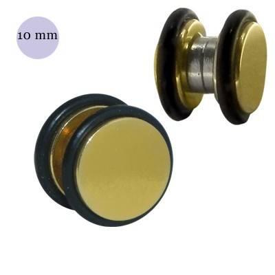 Una dilatación falsa de imán, 10mm, de acero quirúrgico dorado. GM3-13