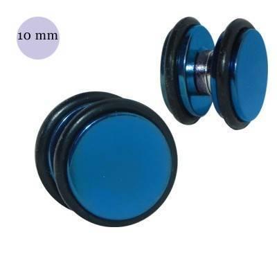 Una dilatación falsa de imán, 10mm, de acero quirúrgico azul. GM3-10
