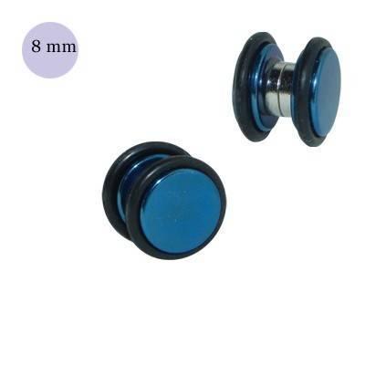 Una dilatación falsa de imán, 8mm, de acero quirúrgico azul. GM3-09
