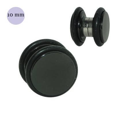 Dilatación falsa de imán negra de acero, 10mm diámetro, con dos anillas de goma