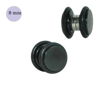 Dilatación falsa de imán negra de acero, 6mm diámetro, con dos anillas de goma
