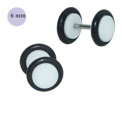 Dilatacion falsa blanca de plástico, 6mm diámetro de los discos. Precio por una dilatacion falsa