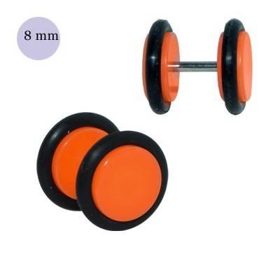 Dilatacion falsa naranja de plástico, 8mm diámetro de los discos. Precio por una dilatacion falsa