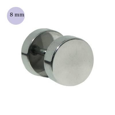 Dilatación falsa color acero, 8mm de diámetro, acero quirúrgico 316L
