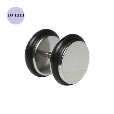 Dilatación falsa color acero, 10mm de diámetro, con dos anillas de goma