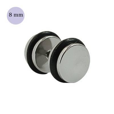 Dilatación falsa color acero, 8mm de diámetro, con dos anillas de goma