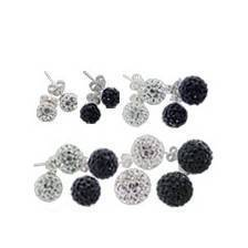 silver balls earrings with stone